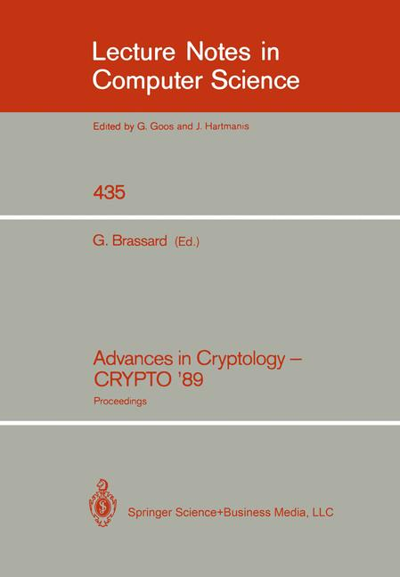 Cover of 'Advances in Cryptology — CRYPTO' 89 Proceedings'