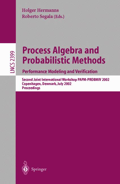 Cover of 'Process Algebra and Probabilistic Methods: Performance Modeling and Verification'