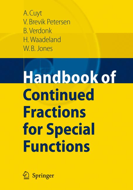 Cover of 'Handbook of Continued Fractions for Special Functions'