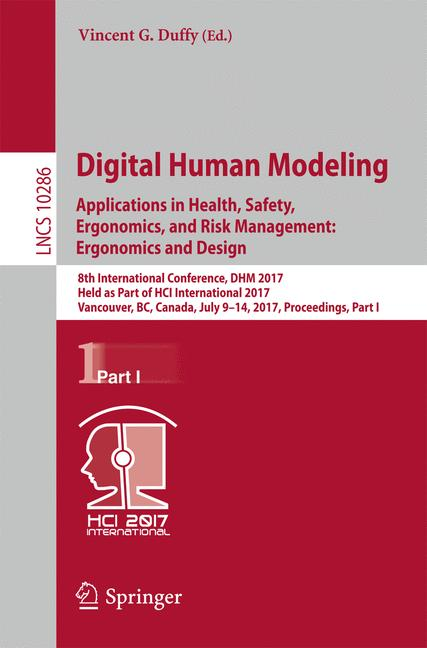 Cover of 'Digital Human Modeling. Applications in Health, Safety, Ergonomics, and Risk Management: Ergonomics and Design'