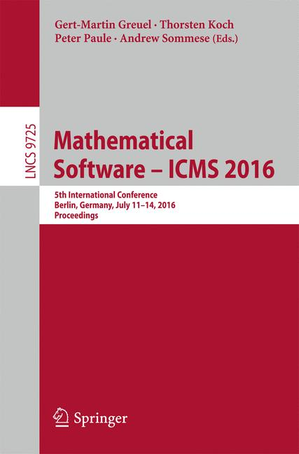 Cover of 'Mathematical Software – ICMS 2016'