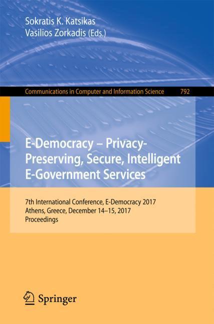 Cover of 'E-Democracy – Privacy-Preserving, Secure, Intelligent E-Government Services'