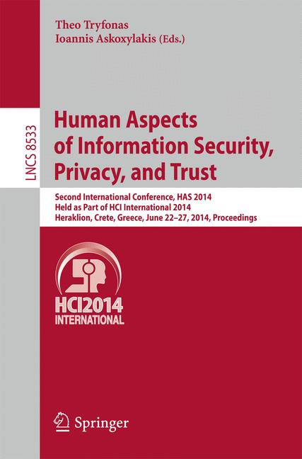 Cover of 'Human Aspects of Information Security, Privacy, and Trust'