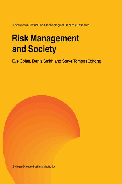 Cover of 'Risk Management and Society'