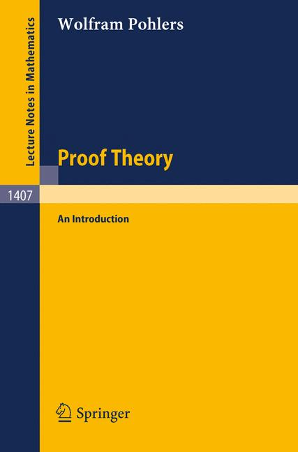 Cover of 'Proof theory : an introduction'