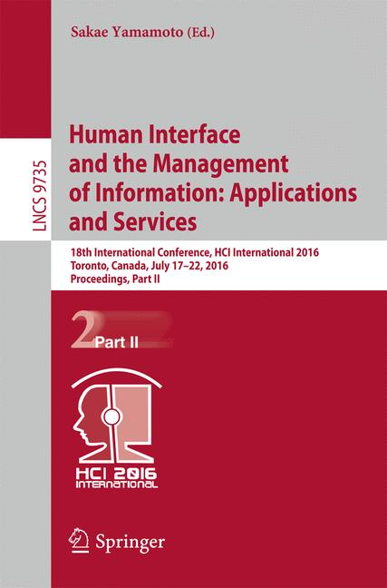 Cover of 'Human Interface and the Management of Information: Applications and Services'