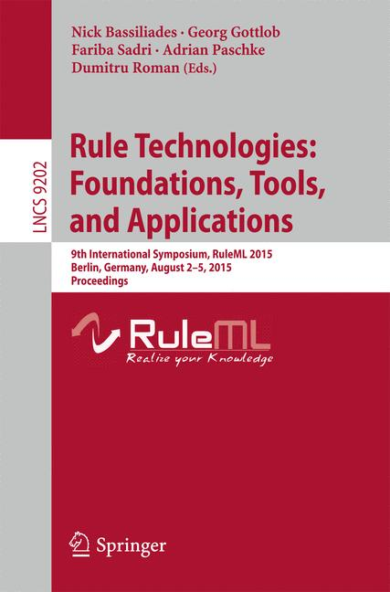 Cover of 'Rule Technologies: Foundations, Tools, and Applications'