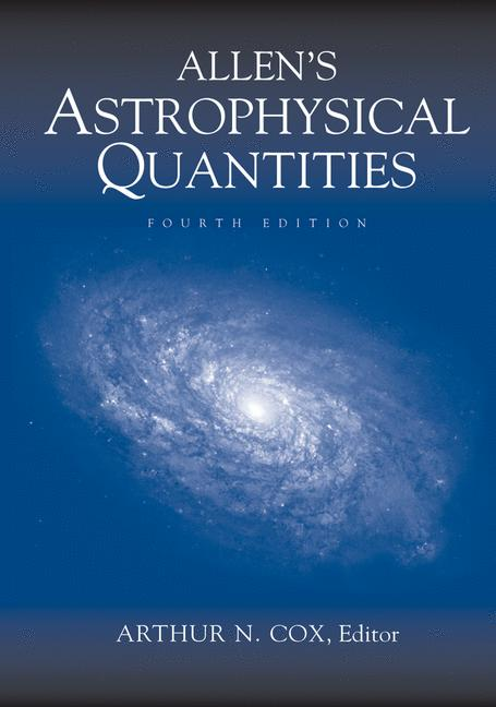 Cover of 'Allen's Astrophysical Quantities'