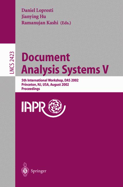 Cover of 'Document Analysis Systems V'