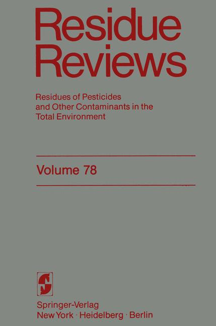 Cover of 'Residue Reviews'
