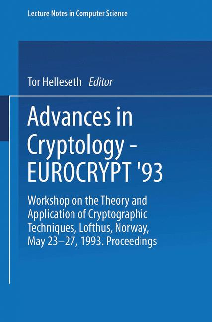 Cover of 'Advances in Cryptology — EUROCRYPT '93'