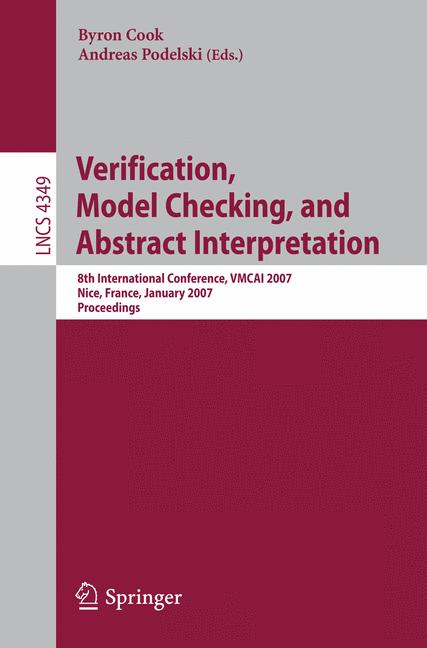 Cover of 'Verification, Model Checking, and Abstract Interpretation'
