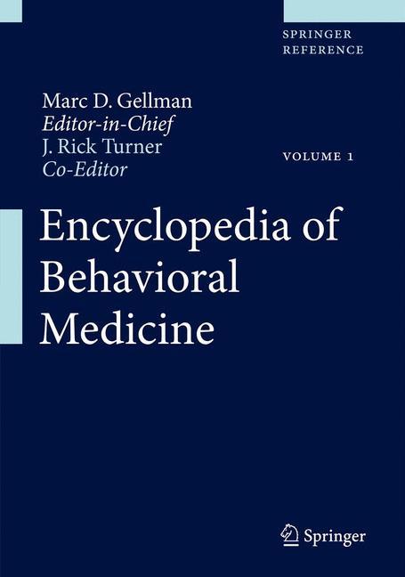 Cover of 'Encyclopedia of Behavioral Medicine'
