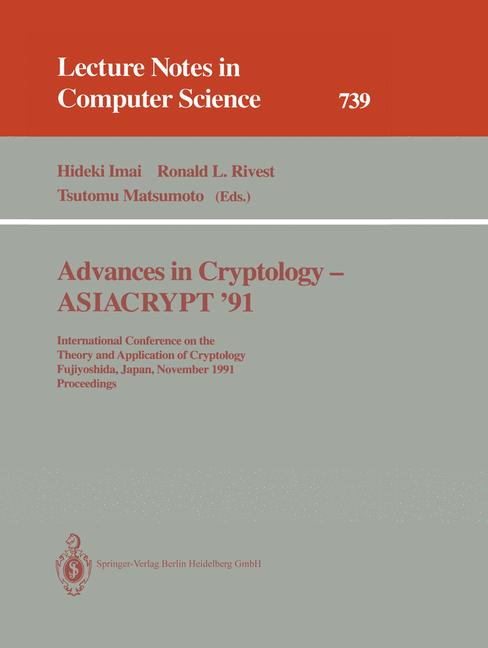 Cover of 'Advances in Cryptology — ASIACRYPT '91'