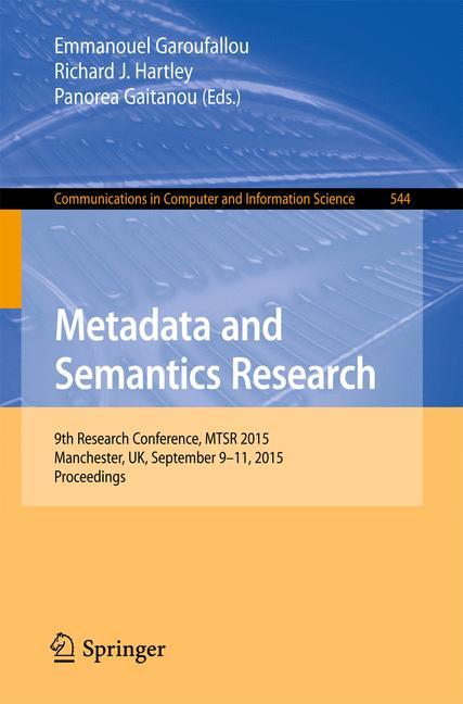 Cover of 'Metadata and Semantics Research'