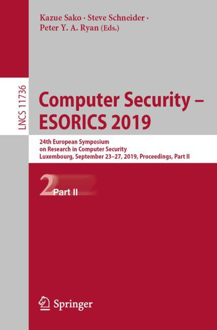 Cover of 'Computer Security – ESORICS 2019'