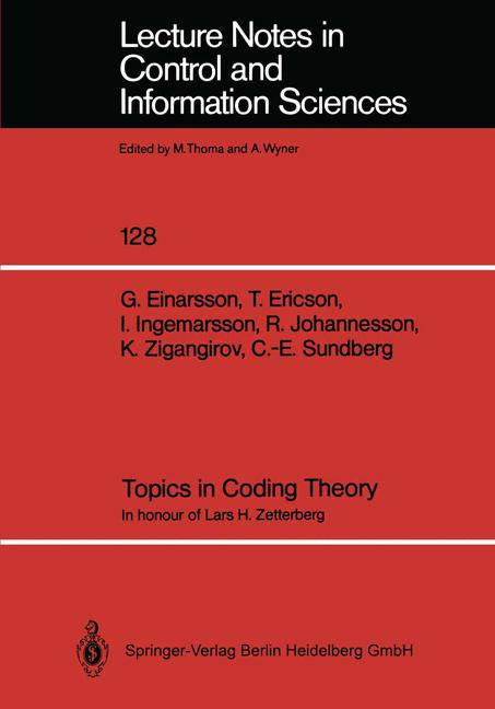 Cover of 'Topics in Coding Theory'