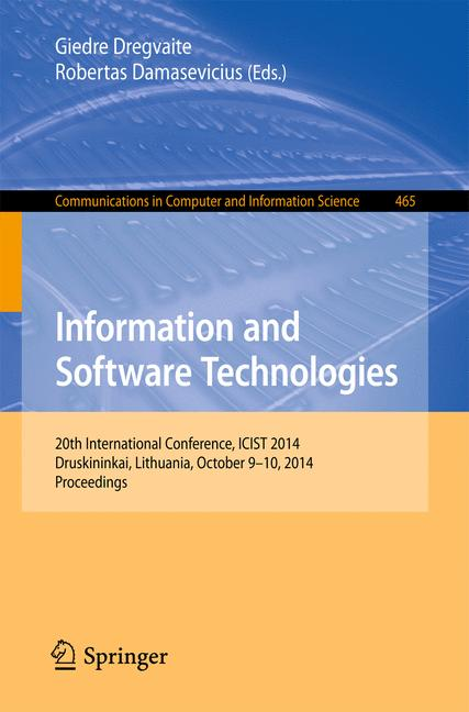 Cover of 'Information and Software Technologies'