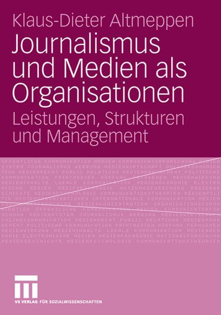 Cover of 'Journalismus und Medien als Organisationen'
