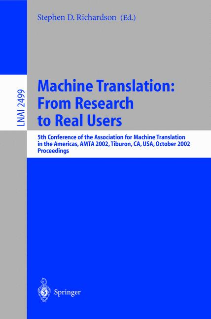 Cover of 'Machine Translation: From Research to Real Users'