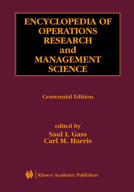 Cover of 'Encyclopedia of Operations Research and Management Science'