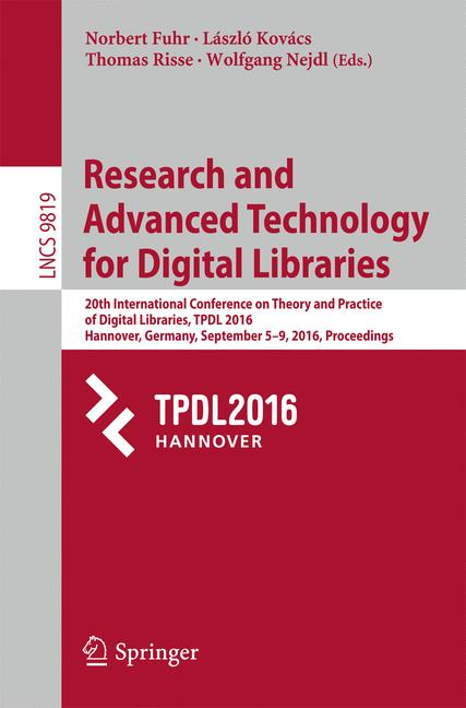 Cover of 'Research and Advanced Technology for Digital Libraries'