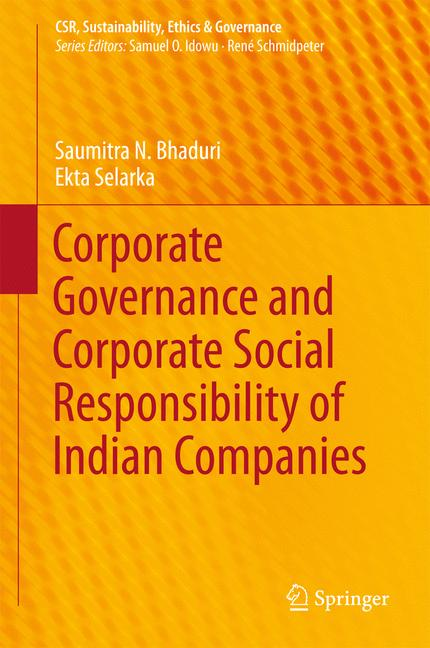 Cover of 'Corporate Governance and Corporate Social Responsibility of Indian Companies'