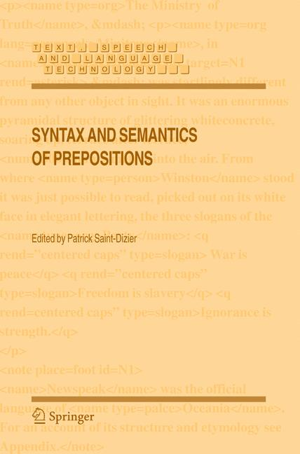 Cover of 'Syntax and semantics of prepositions'