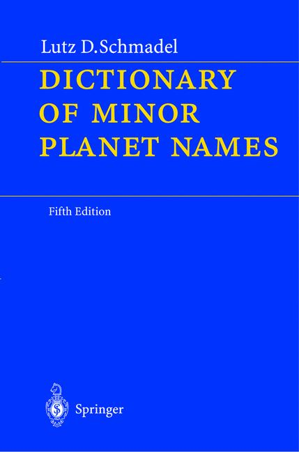Cover of 'Dictionary of minor planet names'