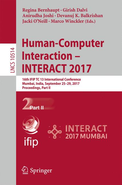 Cover of 'Human-Computer Interaction - INTERACT 2017'