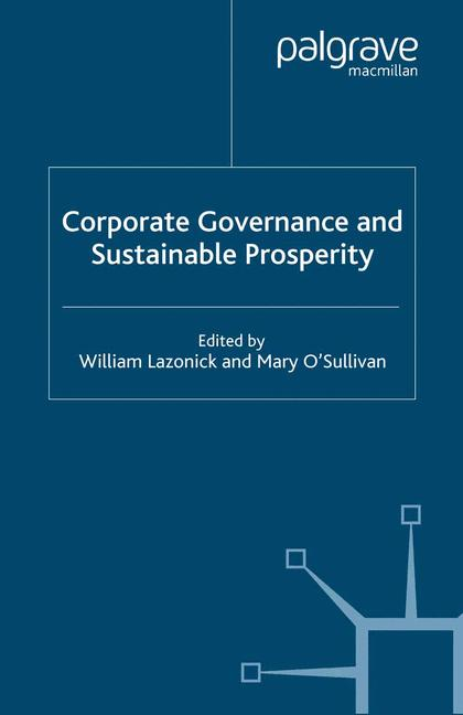 Cover of 'Corporate Governance and Sustainable Prosperity'