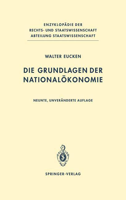 Cover of 'Die Grundlagen der Nationalökonomie'