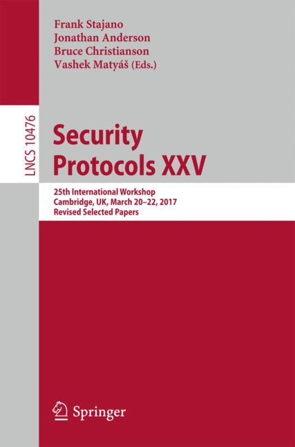 Cover of 'Security Protocols XXV'