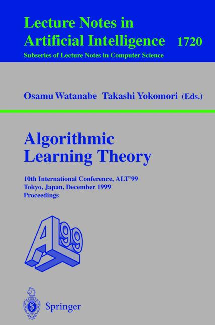 Cover of 'Algorithmic Learning Theory'