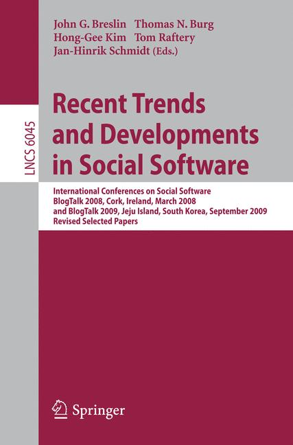 Cover of 'Recent Trends and Developments in Social Software'