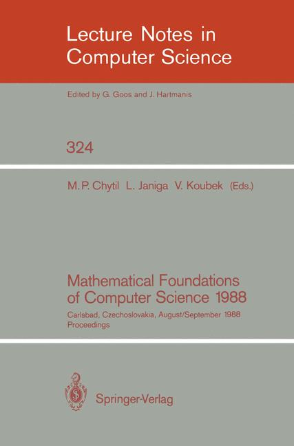 Cover of 'Mathematical Foundations of Computer Science 1988'
