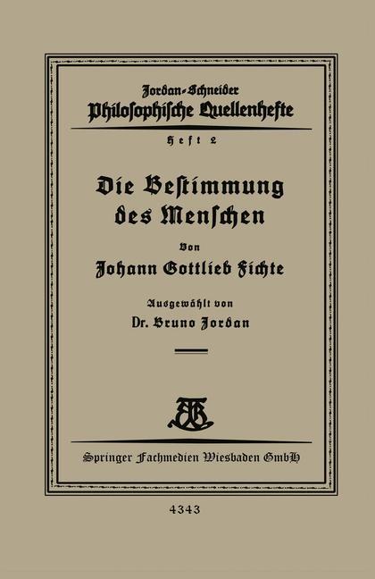 Cover of 'Die Bestimmung des Menschen'