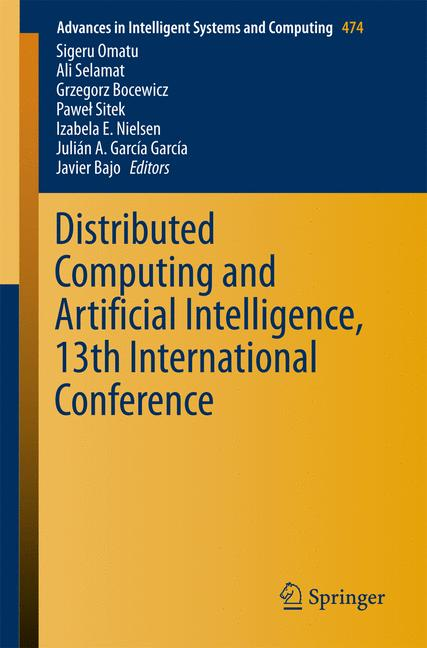 Cover of 'Distributed Computing and Artificial Intelligence, 13th International Conference'