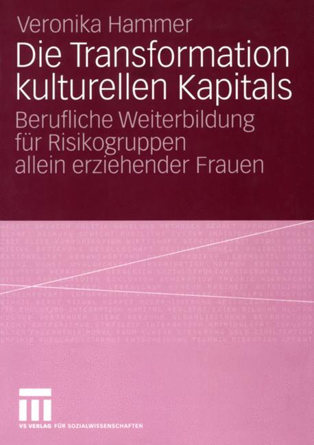 Cover of 'Die Transformation kulturellen Kapitals : berufliche Weiterbildung für Risikogruppen allein erziehender Frauen'