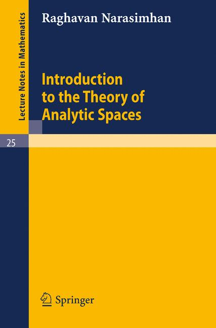 Cover of 'Introduction to the theory of analytic spaces'