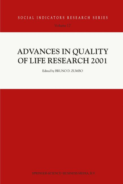 Cover of 'Advances in Quality of Life Research 2001'