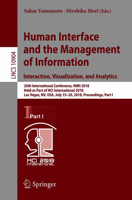 Cover of 'Human Interface and the Management of Information. Interaction, Visualization, and Analytics'