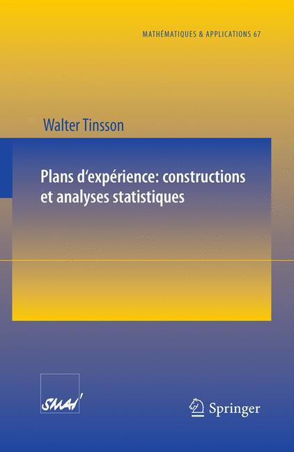 Cover of 'Plans d'expérience: constructions et analyses statistiques'