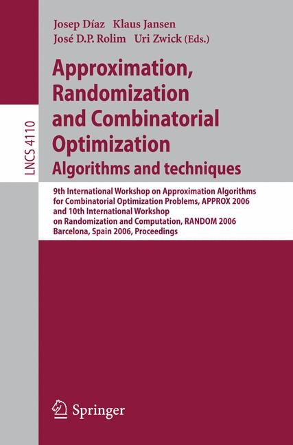 Cover of 'Approximation, Randomization, and Combinatorial Optimization. Algorithms and Techniques'
