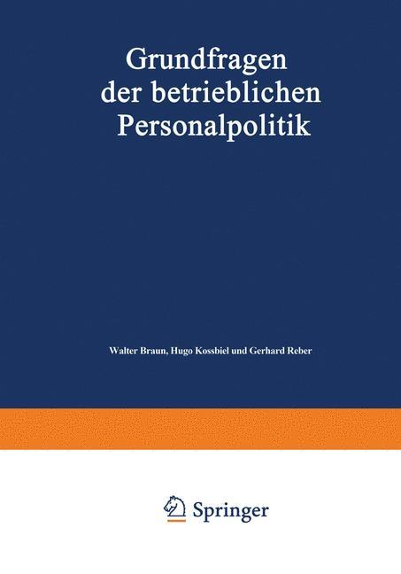 Cover of 'Grundfragen der betrieblichen Personalpolitik'
