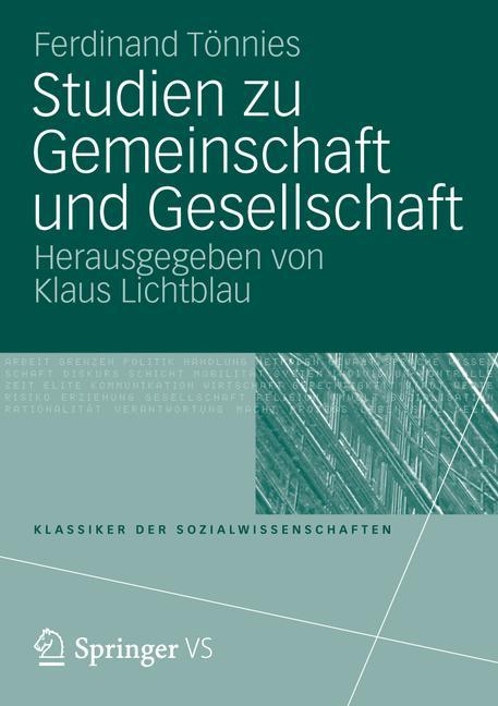 Cover of 'Studien zu Gemeinschaft und Gesellschaft'