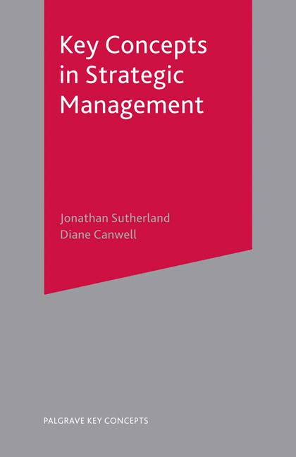 Cover of 'Key concepts in strategic management'