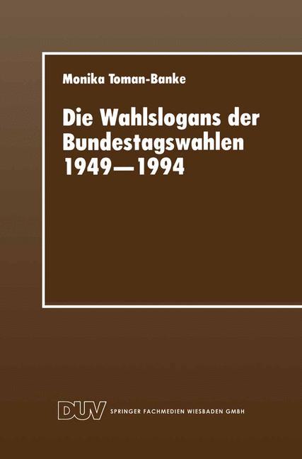 Cover of 'Die Wahlslogans der Bundestagswahlen 1949–1994'