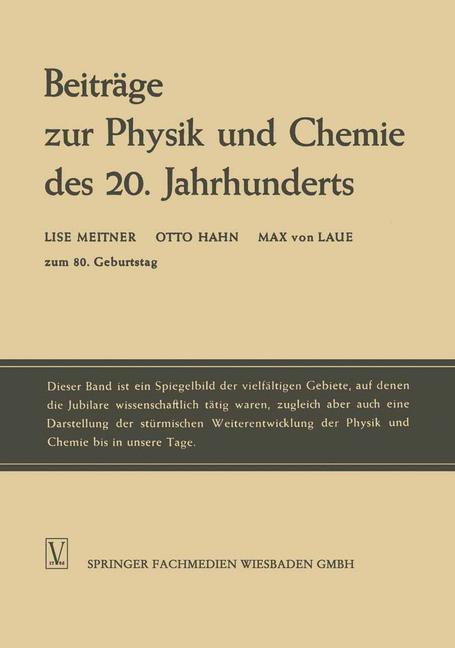 Cover of 'Beiträge zur Physik und Chemie des 20. Jahrhunderts'