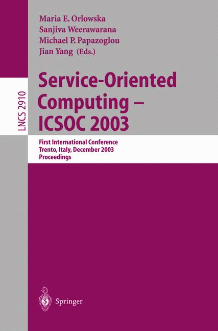 Cover of 'Service-Oriented Computing -- ICSOC 2003'
